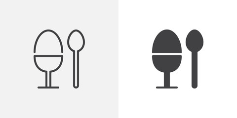 Breakfast egg and spoon icon. line and glyph version, Boiled egg holder outline and filled vector sign. linear and full pictogram. Symbol, logo illustration. Different style icons set