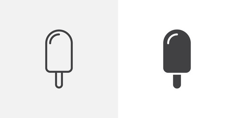 Ice cream icon. line and glyph version, outline and filled vector sign. Popsicle linear and full pictogram. Symbol, logo illustration. Different style icons set