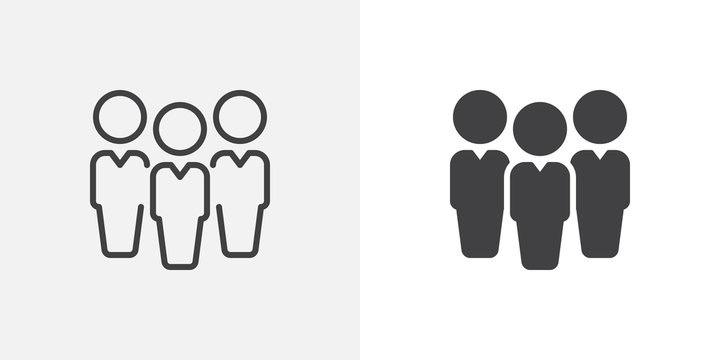 People, leadership icon. line and glyph version, Three people outline and filled vector sign. Team linear and full pictogram. Symbol, logo illustration. Different style icons set