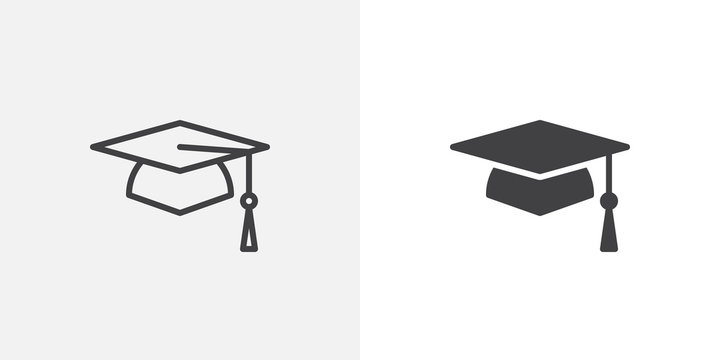 Graduation cap icon. line and glyph version, student hat outline and filled vector sign. Academic cap linear and full pictogram. Education symbol, logo illustration. Different style icons set