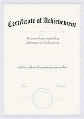 Vertical classic certificate of achievement paper template blue border