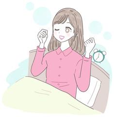 若い女性 朝 目覚め