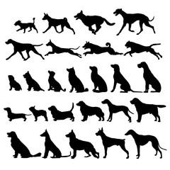 big set of dog silhouettes