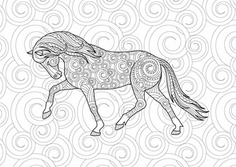Horse with a hand drawn tribal. Coloring page book. Zentangle style art, freehand sketch with doodle element. Animal vector illustration.