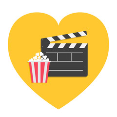 Big open clapper board Popcorn Heart shape. I love movie cinema icon sign symbol set. Red white lined box. Flat design style. Yellow background. Isolated.