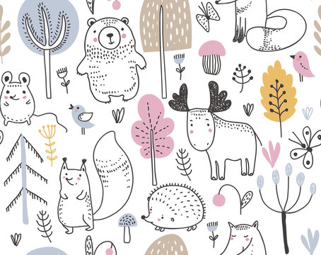 Vector seamless pattern with hand drawn wild forest animals,