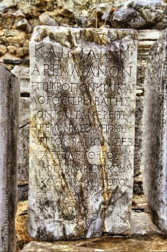 A roman tombstone written with greek words in Ephesus
