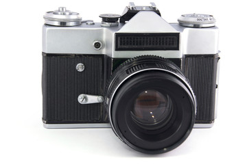 old film photo camera with lens on white background. isolated.