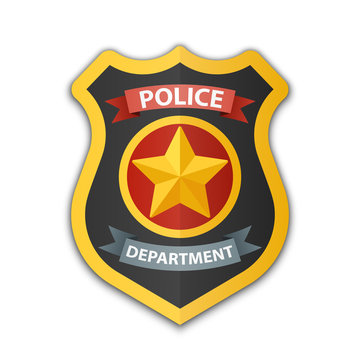 Police badge icon. Shield with a star, vector illustration on white background