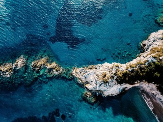 Aerial view of blue and turquoise sea surface