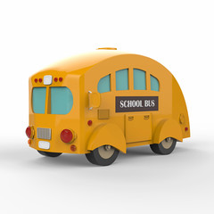 Yellow school bus on white background. 3d render