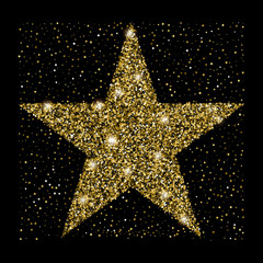 Golden glitter star of many small stars.