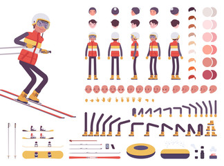 Skier man character creation set. Ski clothing, equipment, winter sport gear kit. Full length, different views, emotions, gestures. Build your own design. Cartoon flat style infographic illustration