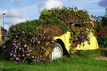 old  yellow 2CV buried under colorful bushes of flowers