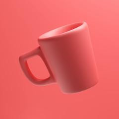 Ceramic Coral Colored Mug, 3d rendering, Coffee Cup