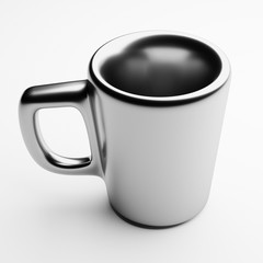 Ceramic Mug with Silver Coating, 3d rendering, Coffee Cup