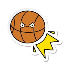 sticker of a cute cartoon basketball