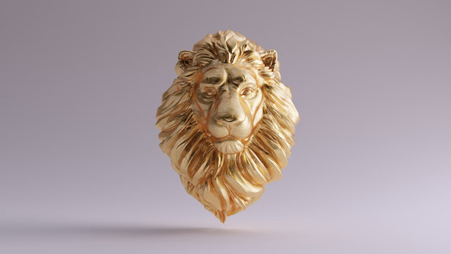 Gold Adult Male Lion Bust Sculpture Front 3d illustration 3d render