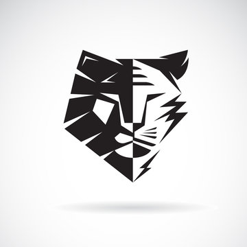 Vector of half face lion and half face tiger on white background. Wild Animals. Easy editable layered vector illustration.