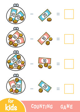 Counting Game for Preschool Children. Subtraction worksheets. How much money in wallets?