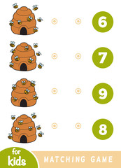 Matching game for children. Count how many bees are in the picture and choose the correct number.
