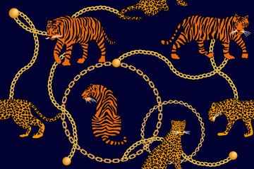Leopards, tiger and golden chains.