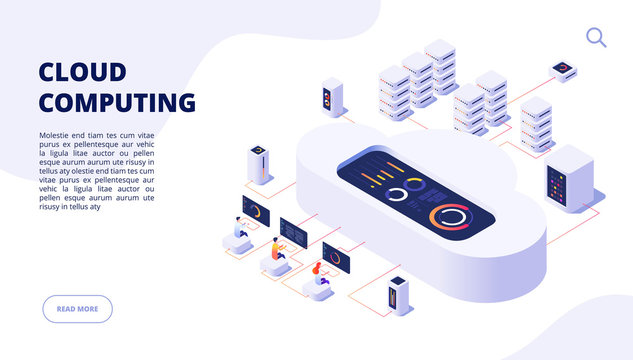 Cloud computing. Online backup secure computer internet hosting access apps networking 3d landing vector page. Isometric data cloud server, access to storage illustration