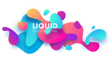 Horizontal plastic colorful shapes. Paper layers. Liquid, flow, fluid design. Modern background. Trendy. Abstract. Vector illustration eps 10 Wall mural