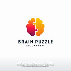 Brain Puzzle logo designs vector, Education logo vector