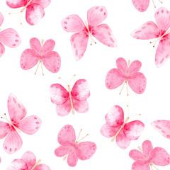 watercolor pattern of pink blue butterflies