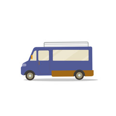 Flat cute cartoon blue van design with isolated white vector.Mini bus flat style.Travel Car concept.