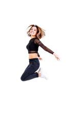 Sport woman jumping isolated on white background.