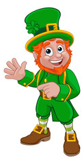 A Leprechaun St Patricks Day Irish cartoon character pointing and waving