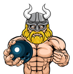 A Viking warrior gladiator bowling sports mascot