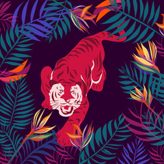 tigers and tropica leavesl, Illustration vector designTrendy style
