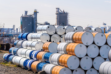 Metal Oil barrels Fototapete