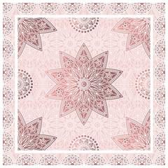 Vector bandana print with decorative mandala pattern in dusty rose colors.