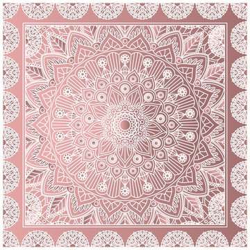 Bandana print with a mandala in dusty pink colors. Vector design.