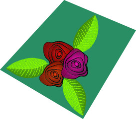 Red rose with leaves. Vector illustration eps 10.