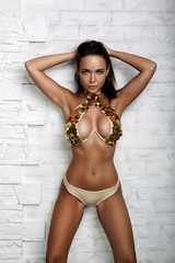 Beautiful girl in a sexy gold lingerie