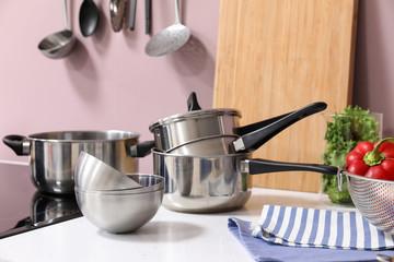 Set of utensils in modern kitchen