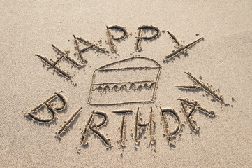 Happy Birthday message handwritten in smooth sand with a slice of plain cake on the shore of an empty beach