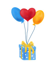 Present and baloons, holiday greeting card, illustration, banner.