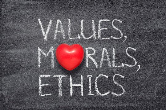 values, morals, ethics heart