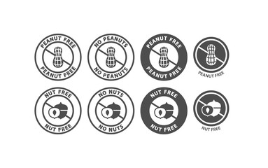 Peanut and tree nut free black vector stamp label. Peanuts and tree nuts free isolated circle symbol packaging food ingredient.