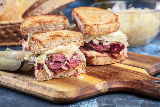 Reuben Sandwich with corned beef, cheese and sauerkraut