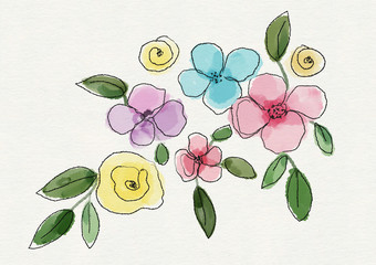 Watercolor abstract floral background with flowers