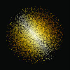 Tiny gold glittering spangles, sparks, splatter or night sky with golden stars vector pattern. Hand drawn spray, splash, specks texture. Uneven dots on black background.