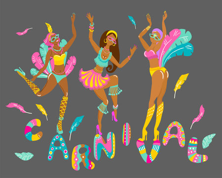 Three beautiful cheerful girls, dancers at a festival or carnival in bikini and feathers