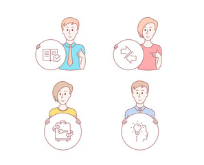 People hand drawn style. Set of Approved documentation, Luggage and Synchronize icons. Idea sign. Instruction book, Baggage locker, Communication arrows. Professional job. Vector